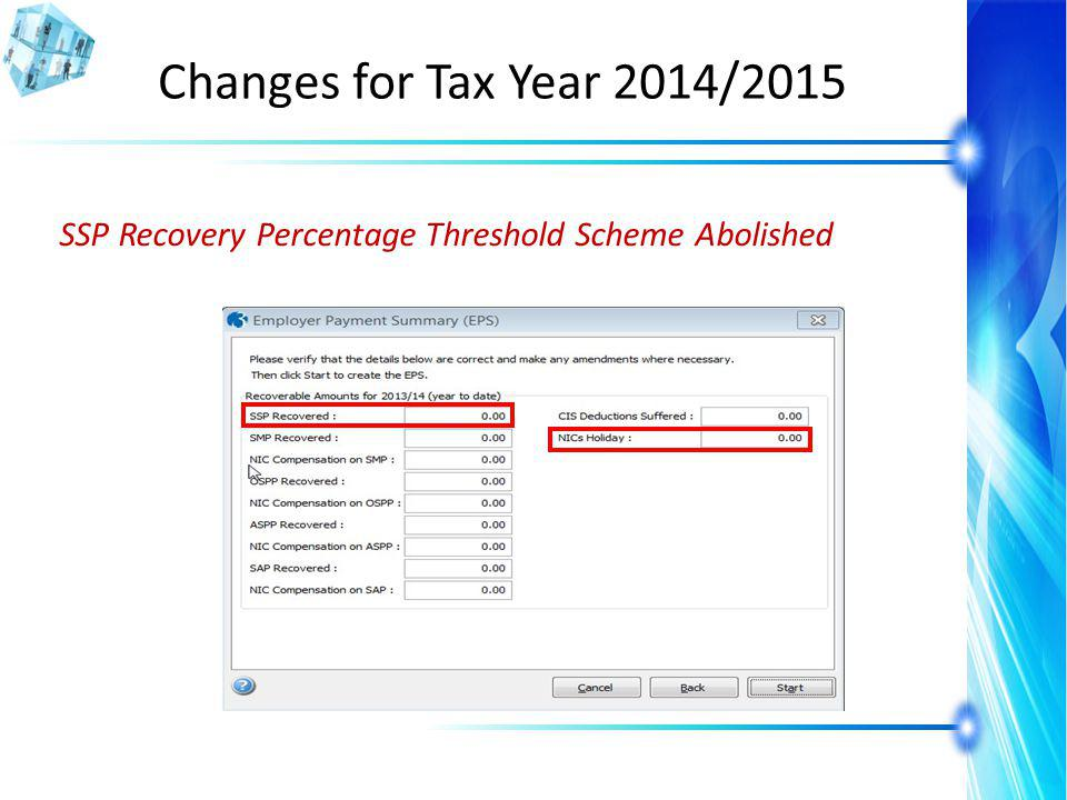 Changes for Tax Year 2014/2015 SSP Recovery Percentage Threshold Scheme Abolished