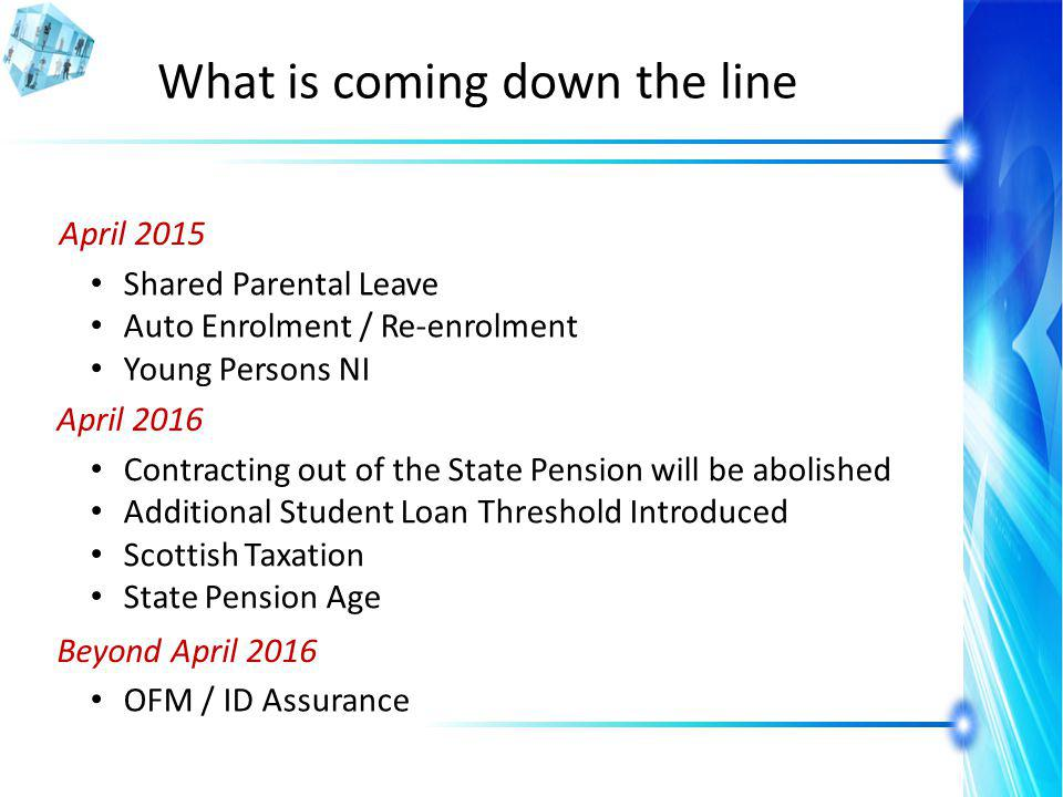 What is coming down the line April 2015 Shared Parental Leave Auto Enrolment / Re-enrolment Young Persons NI April 2016 Contracting out of the State Pension will be abolished Additional Student Loan Threshold Introduced Scottish Taxation State Pension Age Beyond April 2016 OFM / ID Assurance