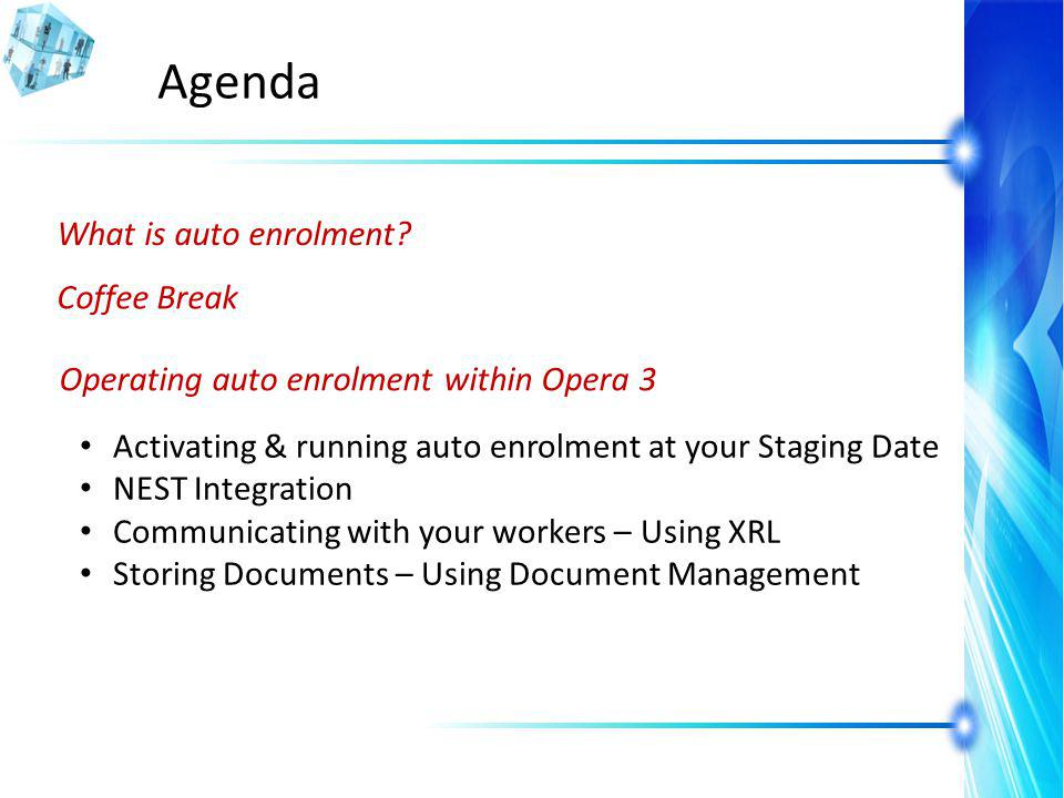 Agenda What is auto enrolment.