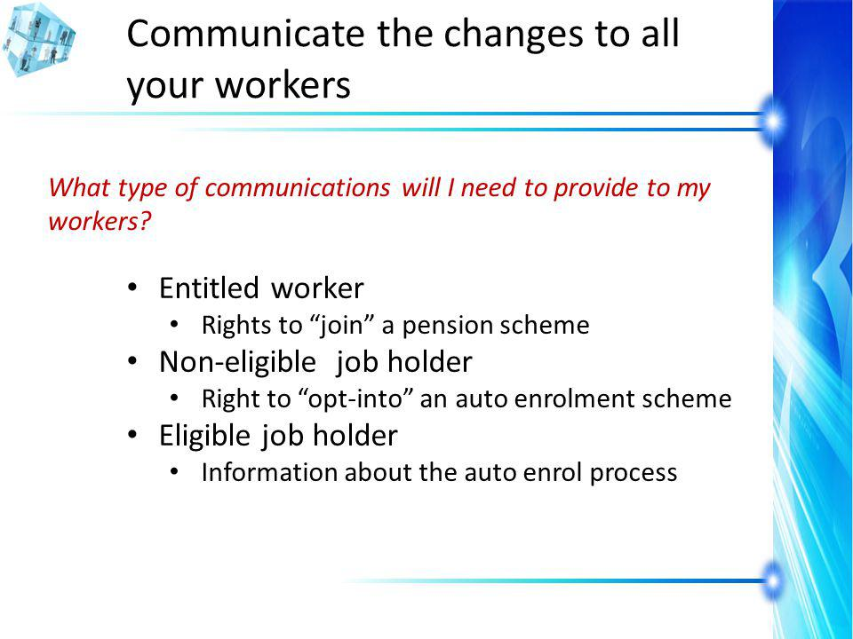 Communicate the changes to all your workers What type of communications will I need to provide to my workers.