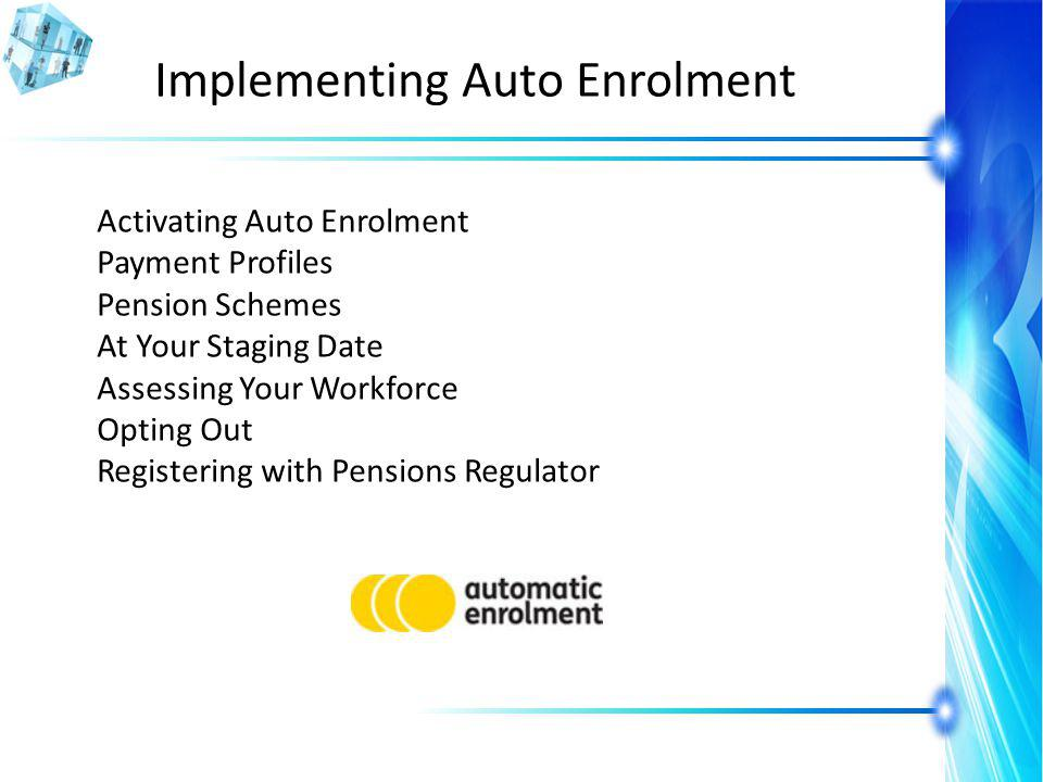 Implementing Auto Enrolment Activating Auto Enrolment Payment Profiles Pension Schemes At Your Staging Date Assessing Your Workforce Opting Out Registering with Pensions Regulator