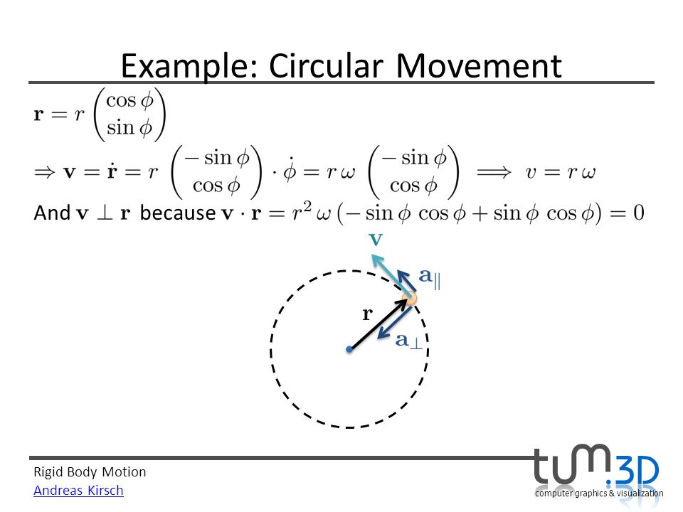 Rigid Body Motion Andreas Kirsch computer graphics & visualization Example: Circular Movement And because