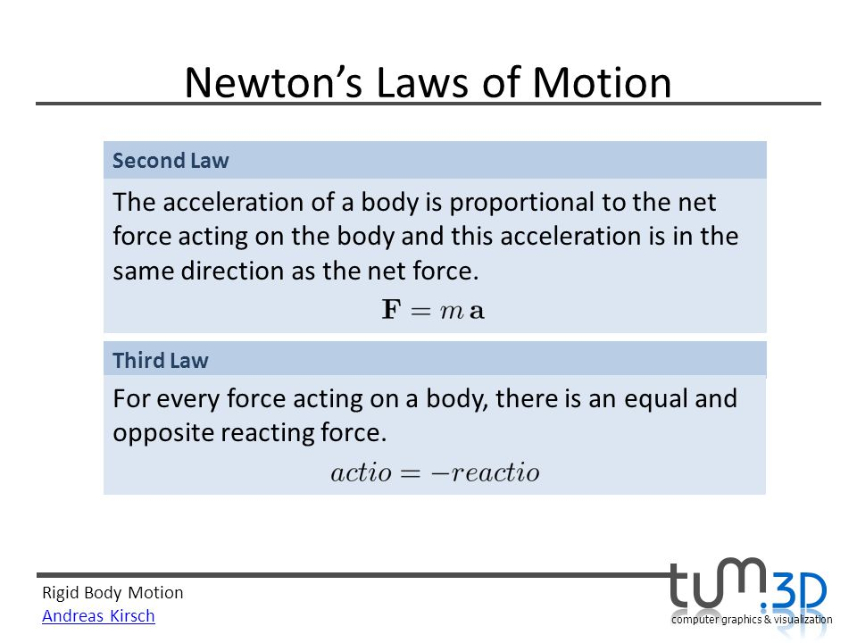 Rigid Body Motion Andreas Kirsch computer graphics & visualization Newtons Laws of Motion Second Law The acceleration of a body is proportional to the