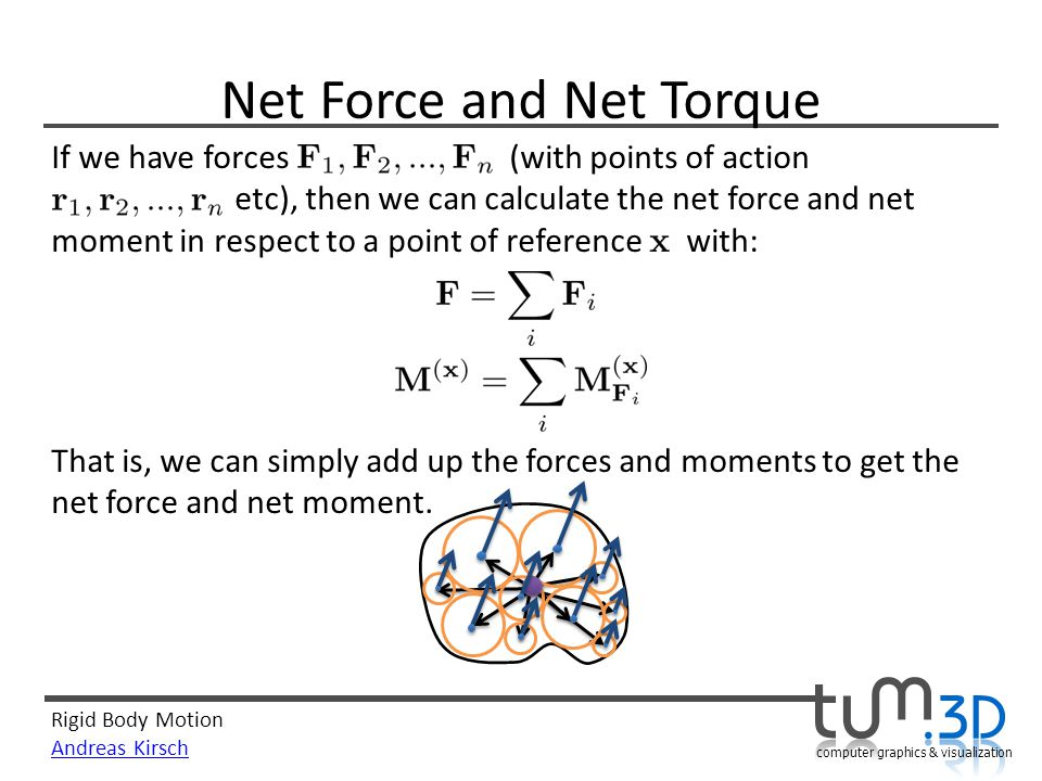 Rigid Body Motion Andreas Kirsch computer graphics & visualization Net Force and Net Torque If we have forces (with points of action etc), then we can