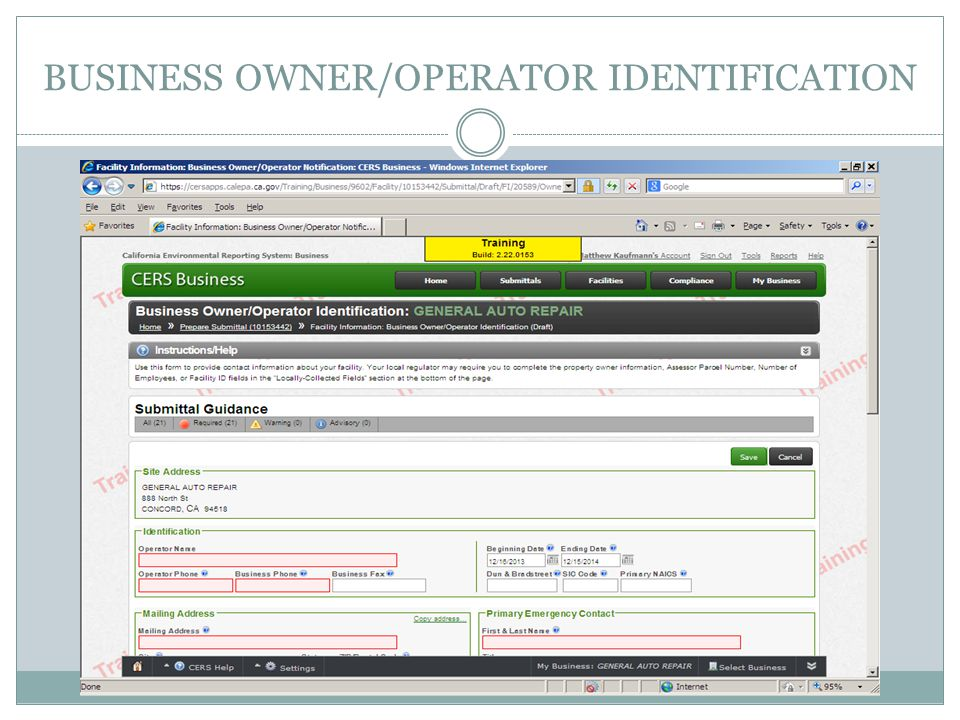 BUSINESS OWNER/OPERATOR IDENTIFICATION