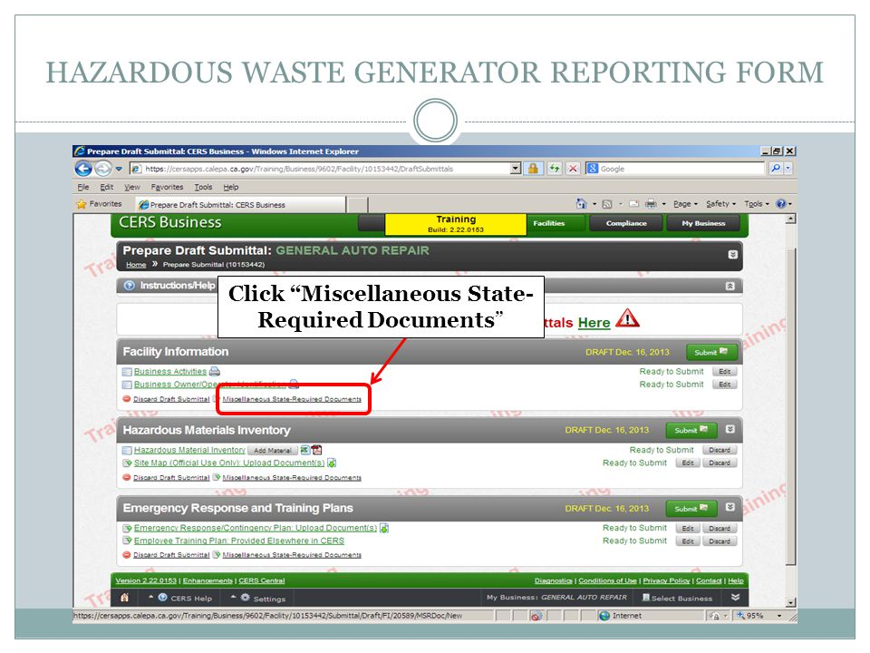 HAZARDOUS WASTE GENERATOR REPORTING FORM Click Miscellaneous State- Required Documents