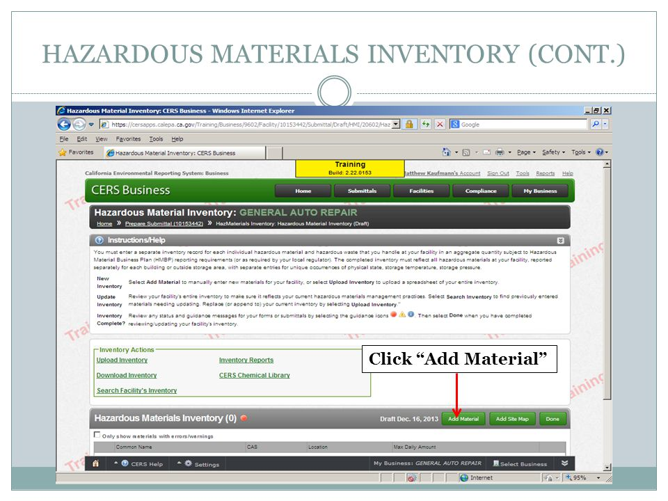 HAZARDOUS MATERIALS INVENTORY (CONT.) Click Add Material