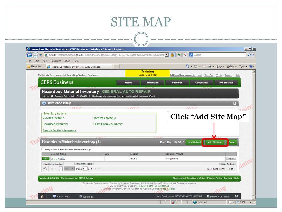 SITE MAP Click Add Site Map