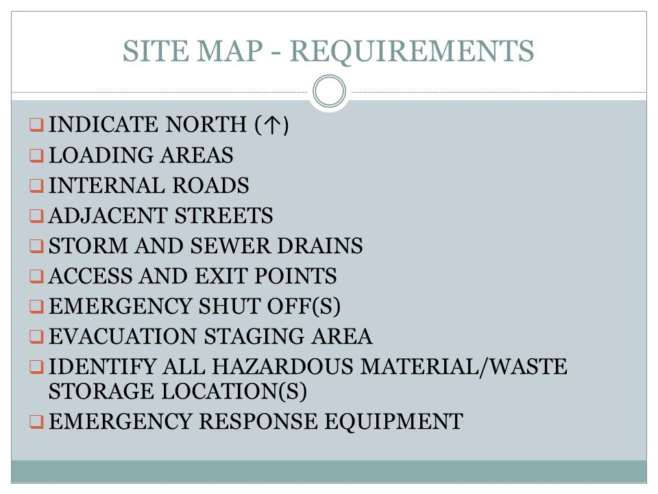 SITE MAP - REQUIREMENTS INDICATE NORTH ( ) LOADING AREAS INTERNAL ROADS ADJACENT STREETS STORM AND SEWER DRAINS ACCESS AND EXIT POINTS EMERGENCY SHUT