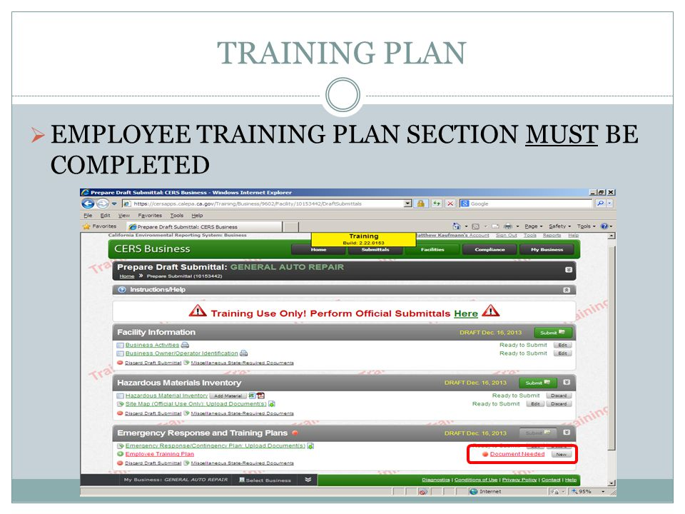 TRAINING PLAN EMPLOYEE TRAINING PLAN SECTION MUST BE COMPLETED