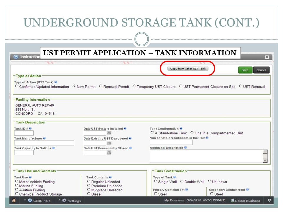 UNDERGROUND STORAGE TANK (CONT.) UST PERMIT APPLICATION – TANK INFORMATION