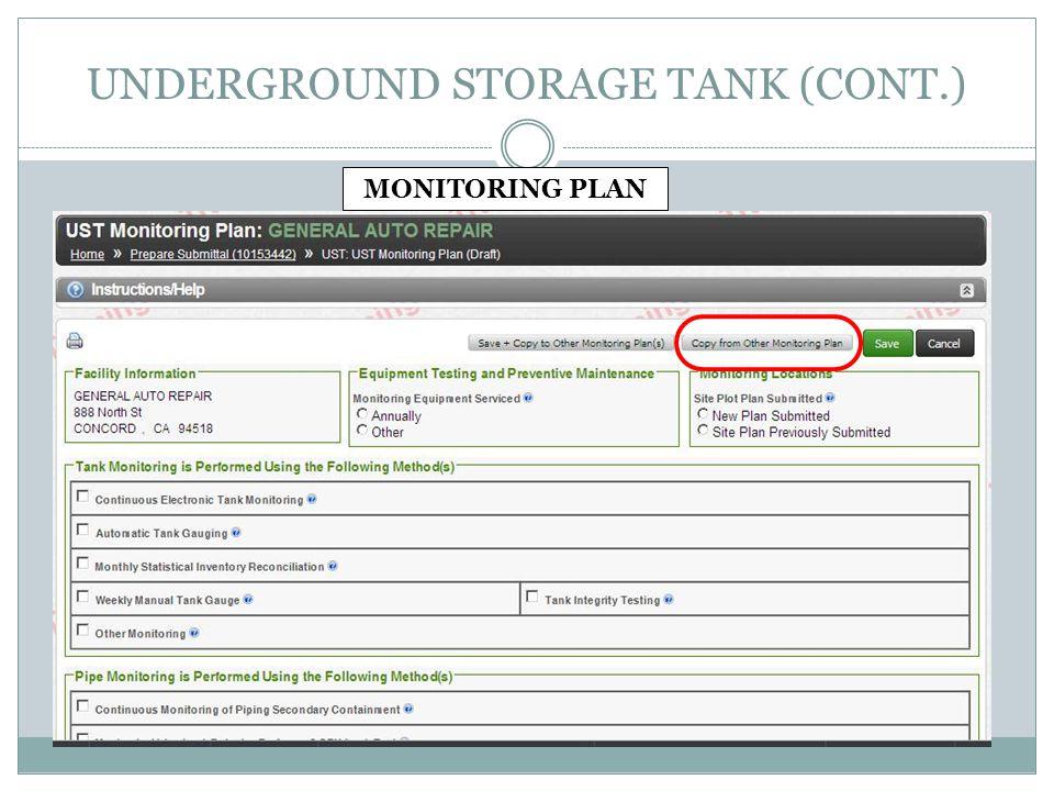 UNDERGROUND STORAGE TANK (CONT.) MONITORING PLAN