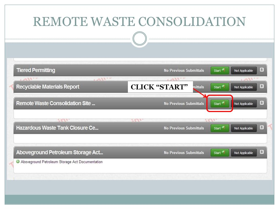REMOTE WASTE CONSOLIDATION CLICK START