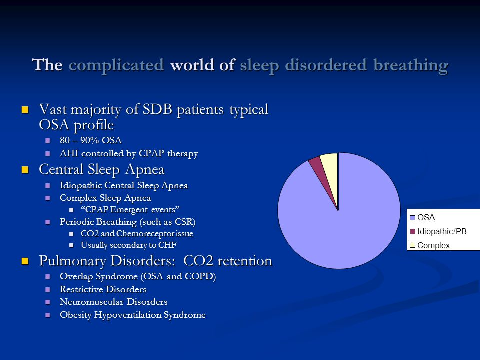 The complicated world of sleep disordered breathing Vast majority of SDB patients typical OSA profile Vast majority of SDB patients typical OSA profil