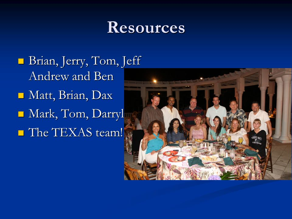 Resources Brian, Jerry, Tom, Jeff Andrew and Ben Brian, Jerry, Tom, Jeff Andrew and Ben Matt, Brian, Dax Matt, Brian, Dax Mark, Tom, Darryl Mark, Tom,