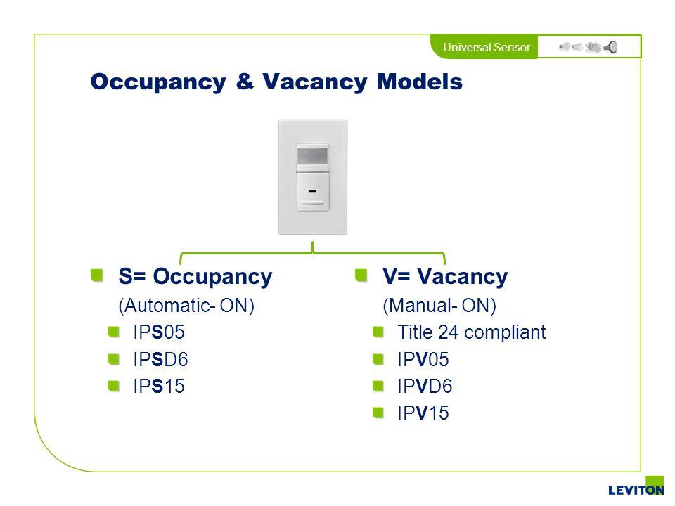 Universal Sensor Occupancy & Vacancy Models S= Occupancy (Automatic- ON) IPS05 IPSD6 IPS15 V= Vacancy (Manual- ON) Title 24 compliant IPV05 IPVD6 IPV1