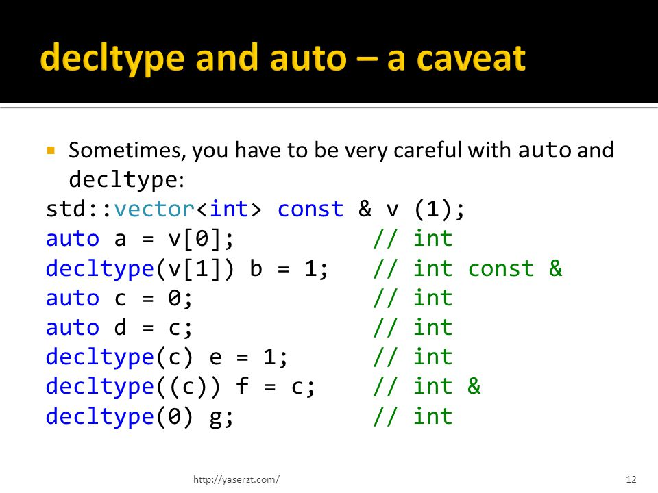 Sometimes, you have to be very careful with auto and decltype : std::vector const & v (1); auto a = v[0]; // int decltype(v[1]) b = 1; // int const & auto c = 0; // int auto d = c; // int decltype(c) e = 1; // int decltype((c)) f = c; // int & decltype(0) g; // int http://yaserzt.com/12
