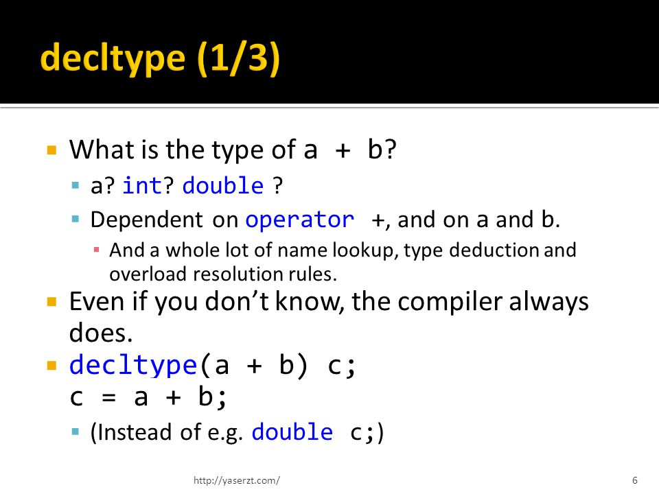 What is the type of a + b . a . int . double . Dependent on operator +, and on a and b.