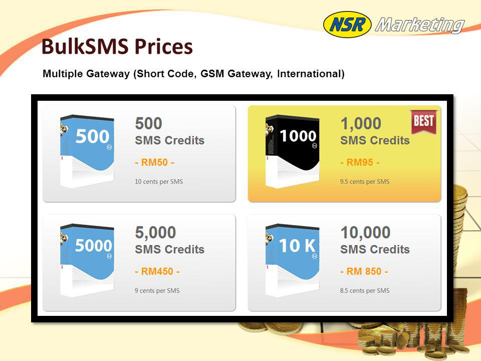 BulkSMS Prices Multiple Gateway (Short Code, GSM Gateway, International)