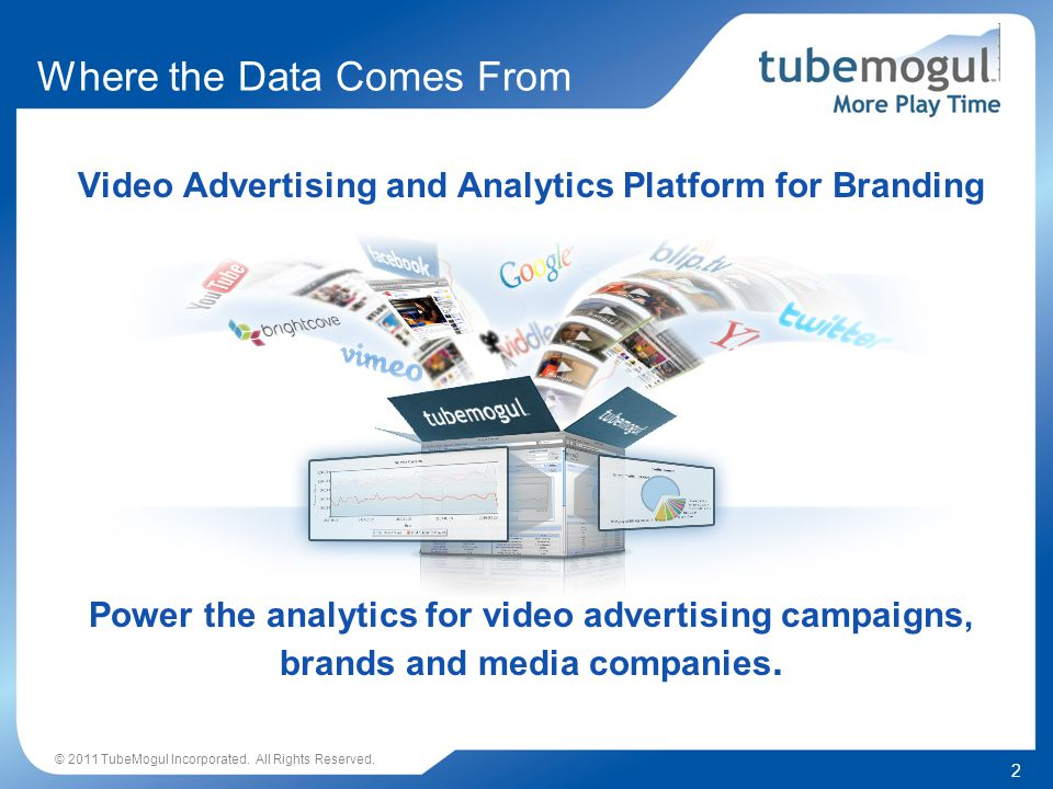 2 Video Advertising and Analytics Platform for Branding Where the Data Comes From © 2011 TubeMogul Incorporated.