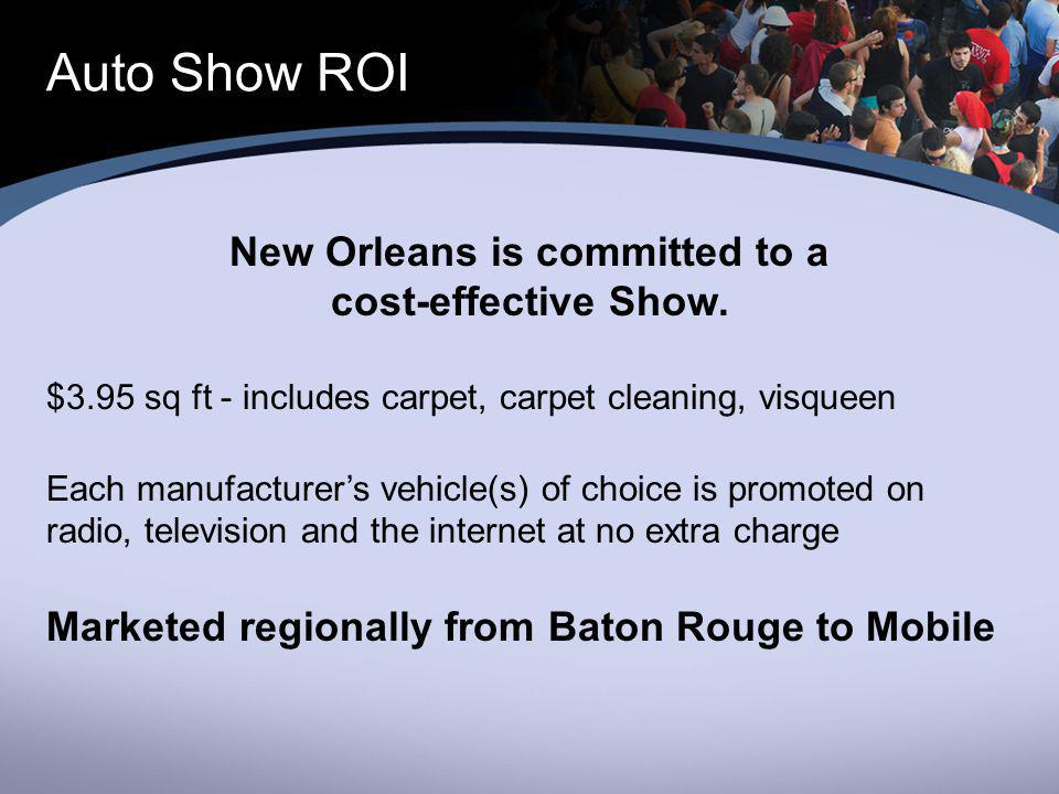 Auto Show ROI New Orleans is committed to a cost-effective Show.