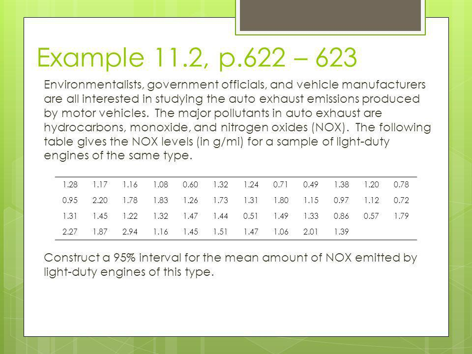 Example 11.2, p.622 – 623 Environmentalists, government officials, and vehicle manufacturers are all interested in studying the auto exhaust emissions