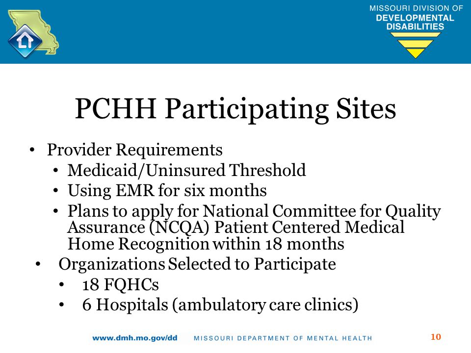 PCHH Participating Sites Provider Requirements Medicaid/Uninsured Threshold Using EMR for six months Plans to apply for National Committee for Quality Assurance (NCQA) Patient Centered Medical Home Recognition within 18 months Organizations Selected to Participate 18 FQHCs 6 Hospitals (ambulatory care clinics) 10