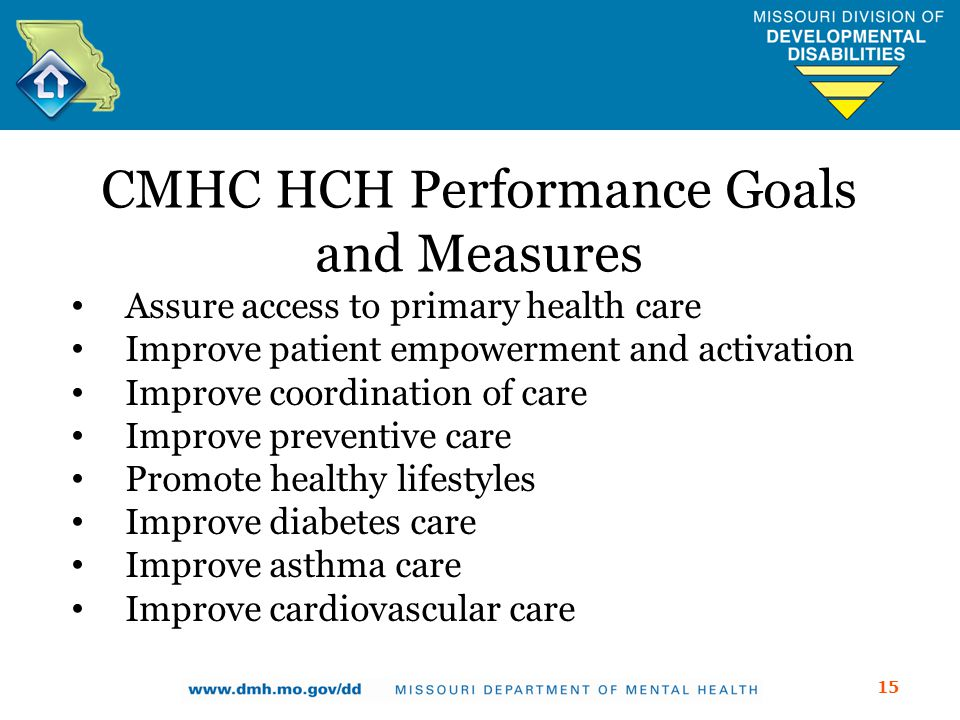 CMHC HCH Performance Goals and Measures Assure access to primary health care Improve patient empowerment and activation Improve coordination of care Improve preventive care Promote healthy lifestyles Improve diabetes care Improve asthma care Improve cardiovascular care 15