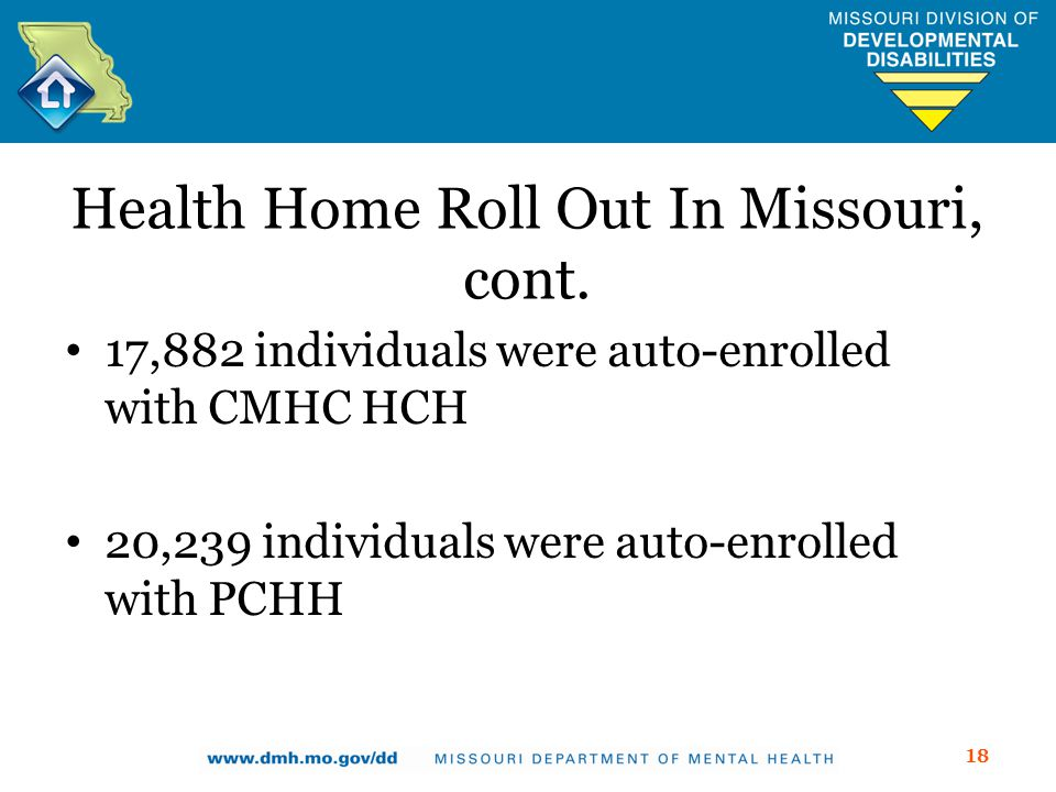 Health Home Roll Out In Missouri, cont.