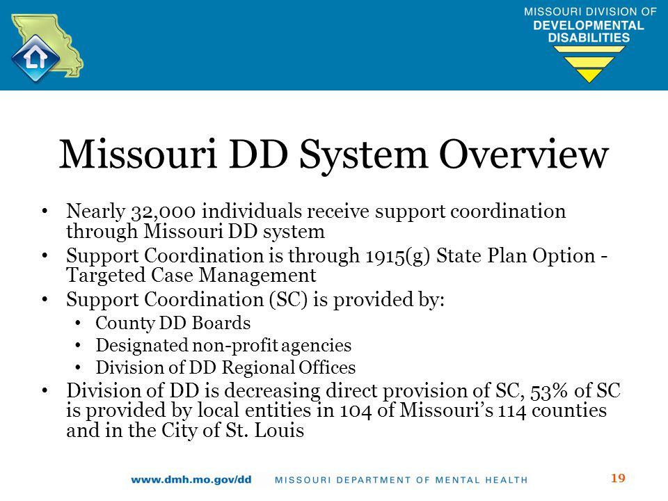 Missouri DD System Overview Nearly 32,000 individuals receive support coordination through Missouri DD system Support Coordination is through 1915(g) State Plan Option - Targeted Case Management Support Coordination (SC) is provided by: County DD Boards Designated non-profit agencies Division of DD Regional Offices Division of DD is decreasing direct provision of SC, 53% of SC is provided by local entities in 104 of Missouris 114 counties and in the City of St.