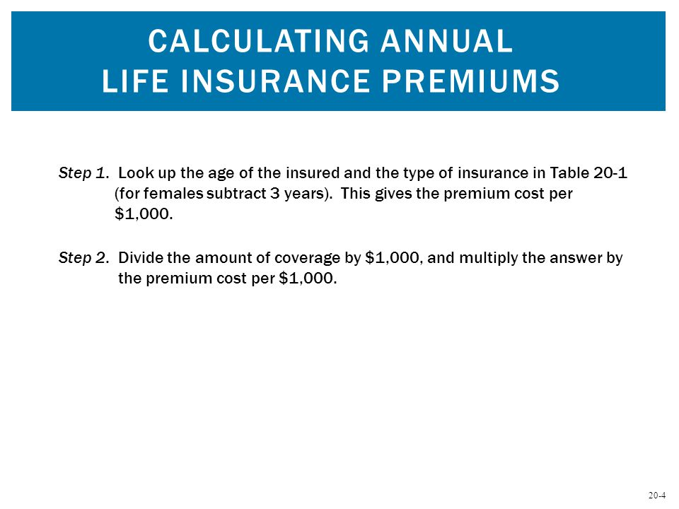20-4 Step 2. Divide the amount of coverage by $1,000, and multiply the answer by the premium cost per $1,000. Step 1. Look up the age of the insured a