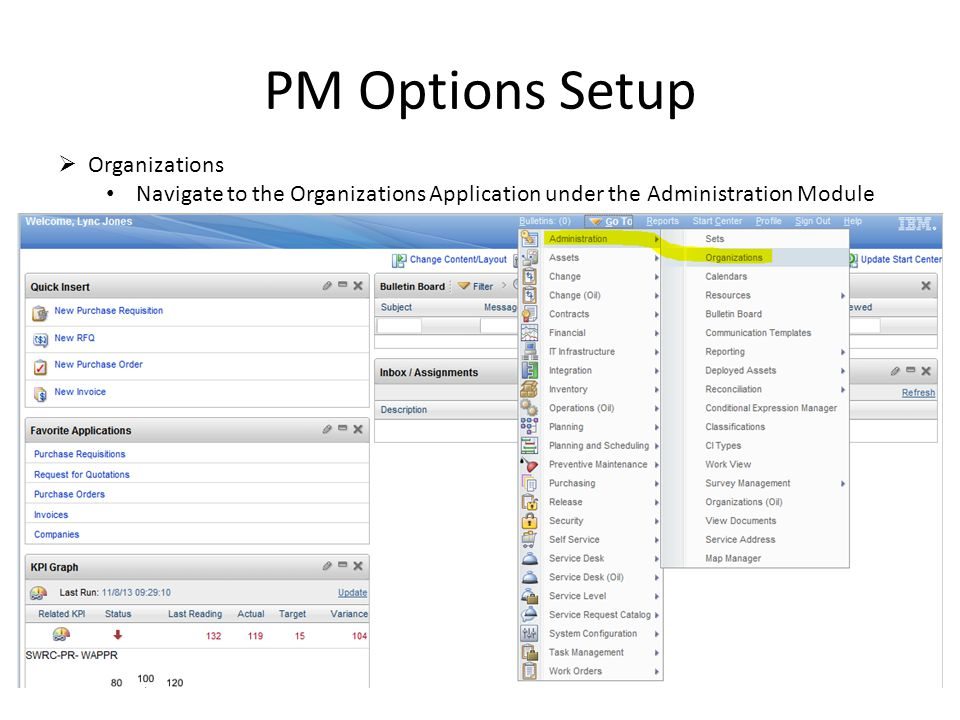 PM Options Setup Organizations Navigate to the Organizations Application under the Administration Module
