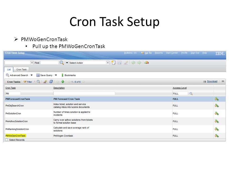 Cron Task Setup PMWoGenCronTask Pull up the PMWoGenCronTask