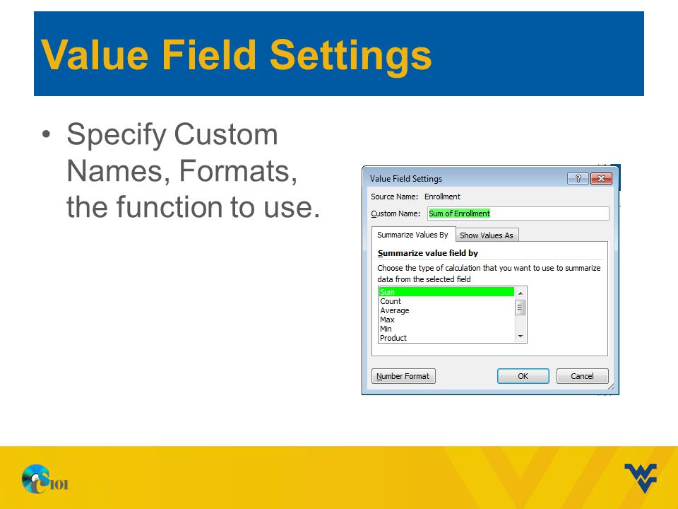 Value Field Settings Specify Custom Names, Formats, the function to use.