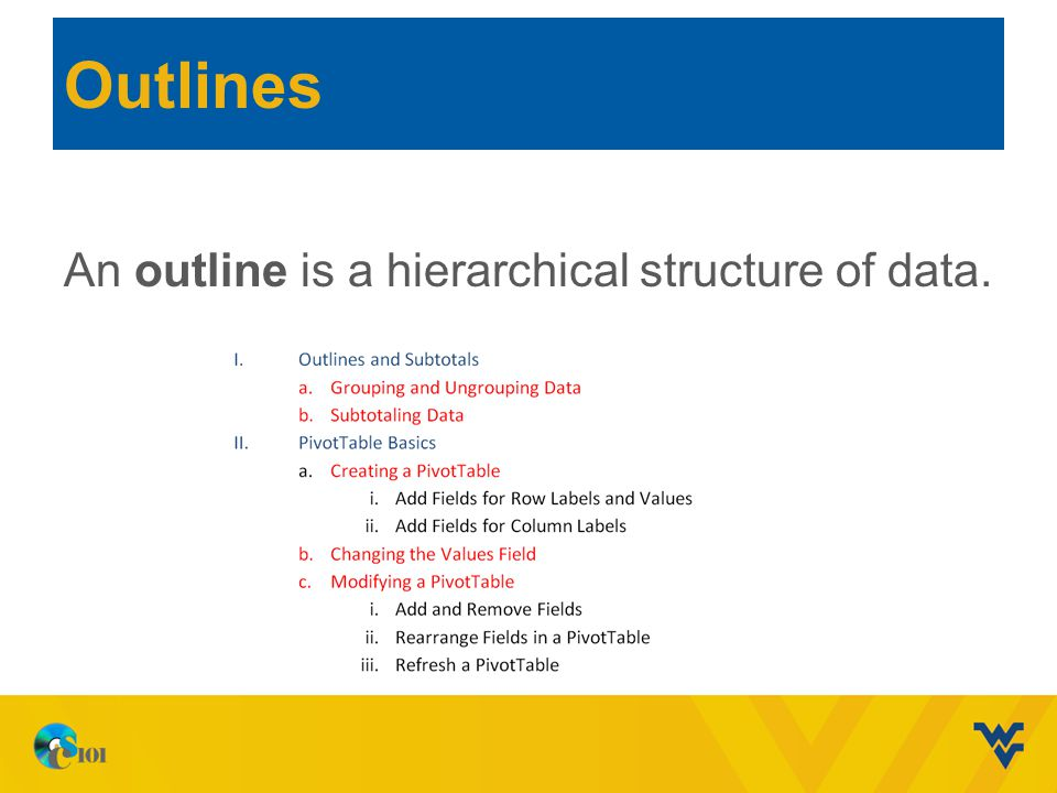 Outlines An outline is a hierarchical structure of data.