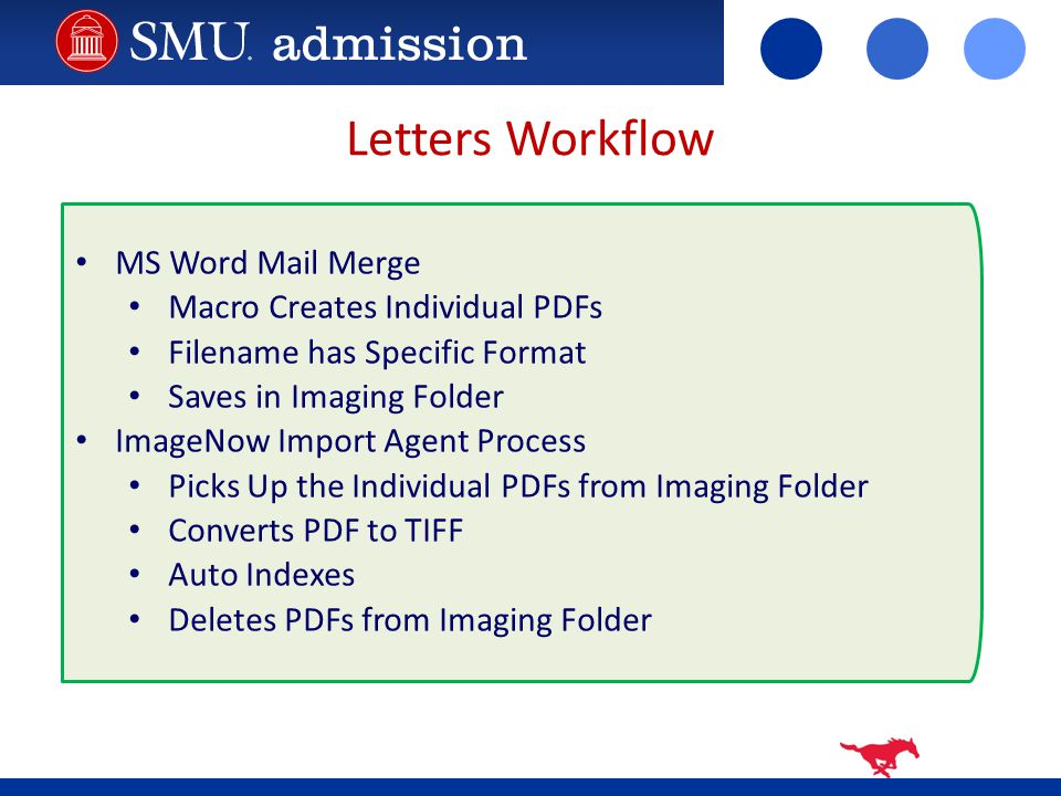 Letters Workflow MS Word Mail Merge Macro Creates Individual PDFs Filename has Specific Format Saves in Imaging Folder ImageNow Import Agent Process Picks Up the Individual PDFs from Imaging Folder Converts PDF to TIFF Auto Indexes Deletes PDFs from Imaging Folder