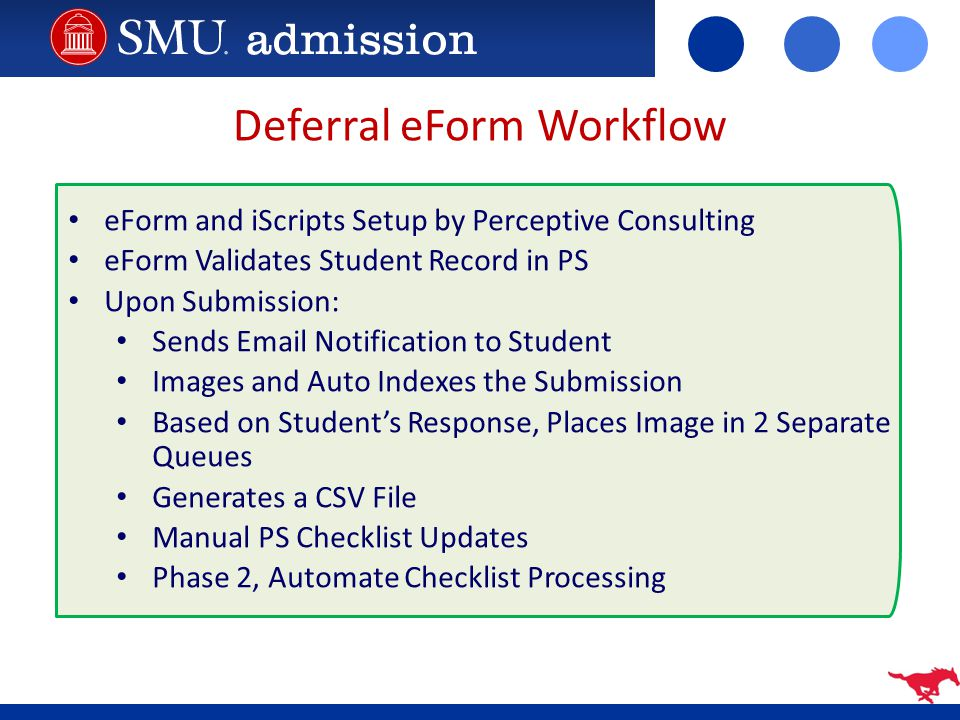 Deferral eForm Workflow eForm and iScripts Setup by Perceptive Consulting eForm Validates Student Record in PS Upon Submission: Sends Email Notificati