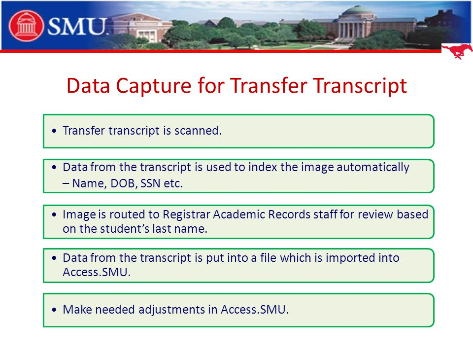 Data Capture for Transfer Transcript Transfer transcript is scanned. Data from the transcript is used to index the image automatically – Name, DOB, SS