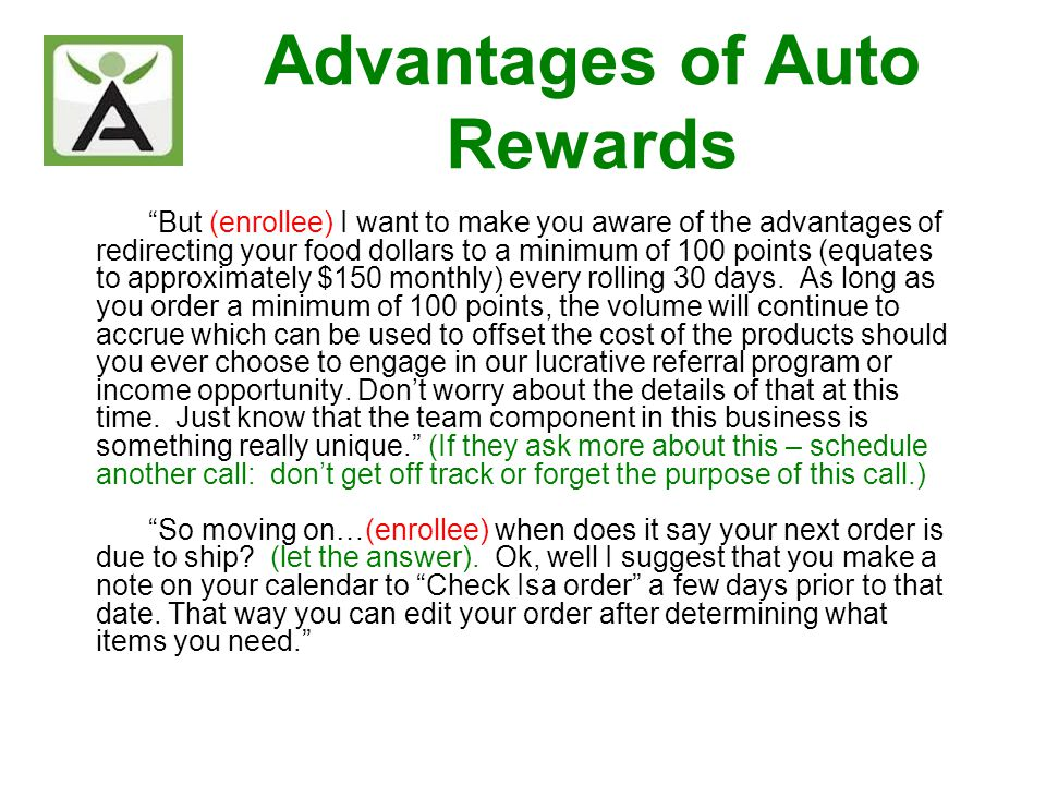But (enrollee) I want to make you aware of the advantages of redirecting your food dollars to a minimum of 100 points (equates to approximately $150 m