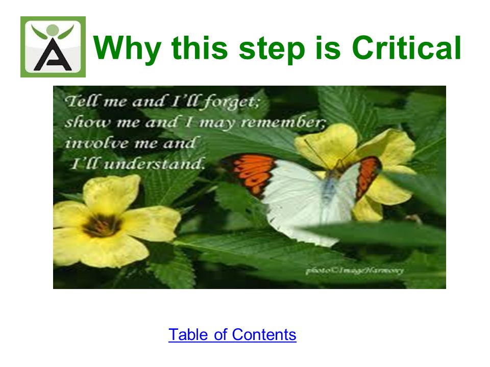 Why this step is Critical Table of Contents