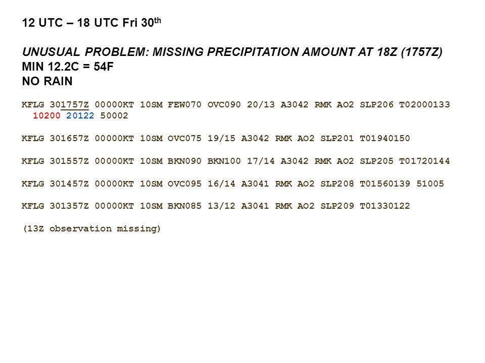 12 UTC – 18 UTC Fri 30 th UNUSUAL PROBLEM: MISSING PRECIPITATION AMOUNT AT 18Z (1757Z) MIN 12.2C = 54F NO RAIN KFLG 301757Z 00000KT 10SM FEW070 OVC090