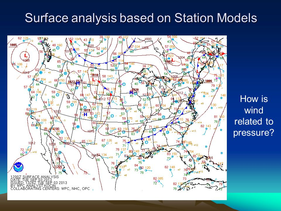 How is wind related to pressure Surface analysis based on Station Models