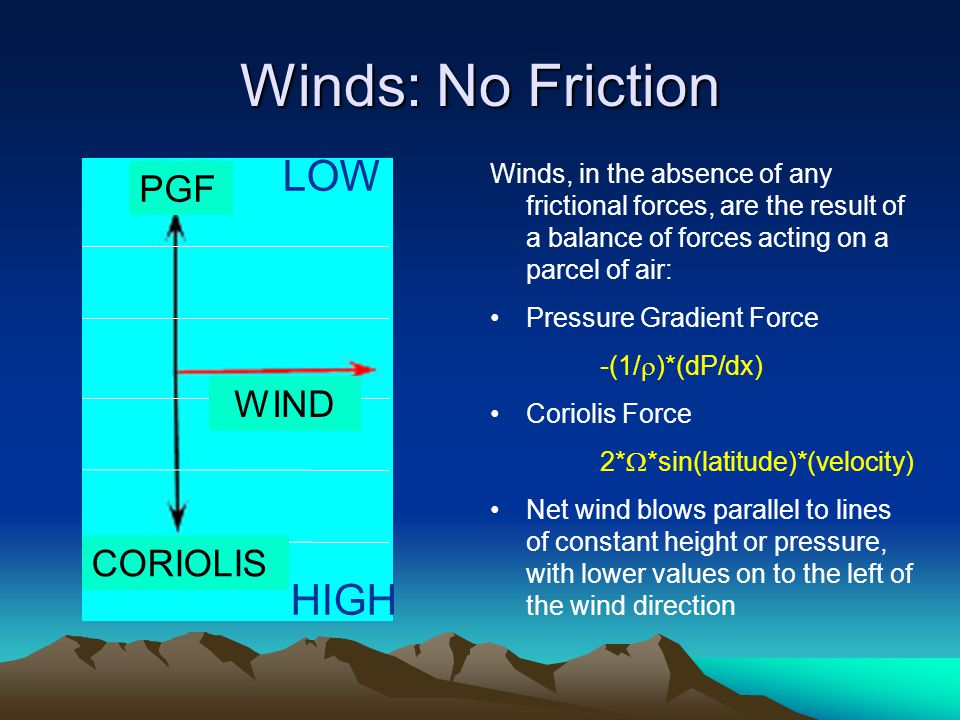 Winds: No Friction Winds, in the absence of any frictional forces, are the result of a balance of forces acting on a parcel of air: Pressure Gradient