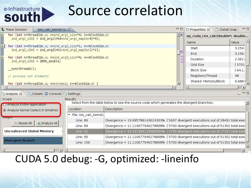 Source correlation CUDA 5.0 debug: -G, optimized: -lineinfo