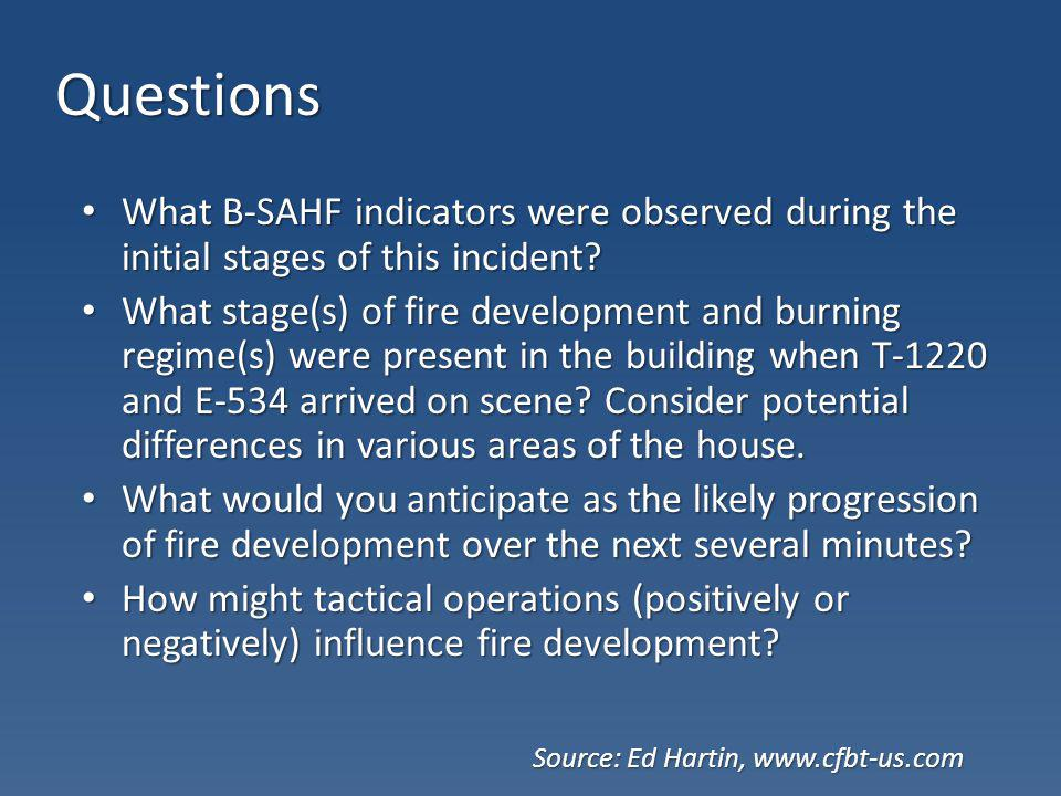 Questions What B-SAHF indicators were observed during the initial stages of this incident? What B-SAHF indicators were observed during the initial sta