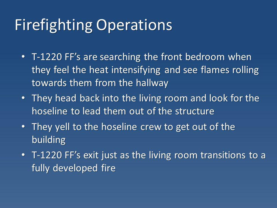 Firefighting Operations T-1220 FFs are searching the front bedroom when they feel the heat intensifying and see flames rolling towards them from the h