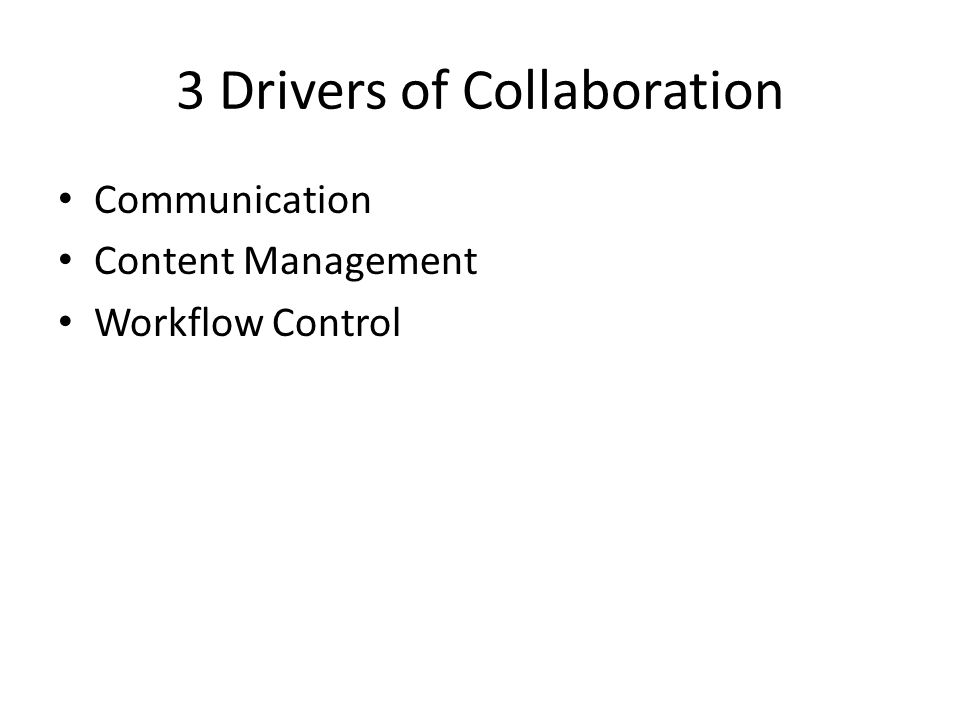 3 Drivers of Collaboration Communication Content Management Workflow Control