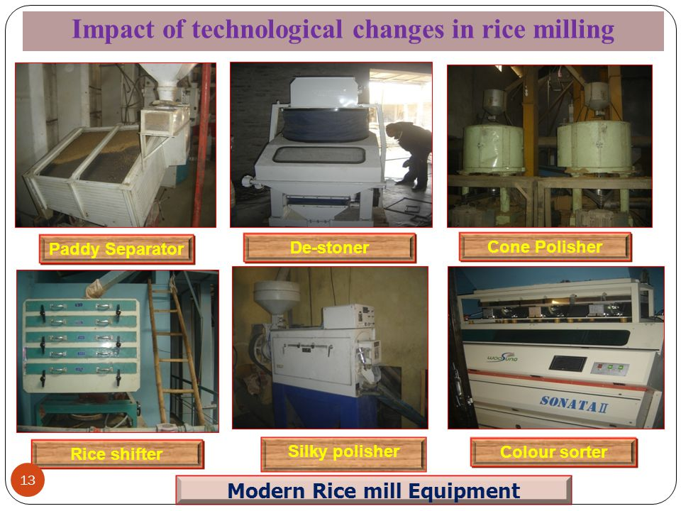 Paddy Separator Colour sorter Rice shifter De-stoner Modern Rice mill Equipment Silky polisher Cone Polisher 13 Impact of technological changes in ric