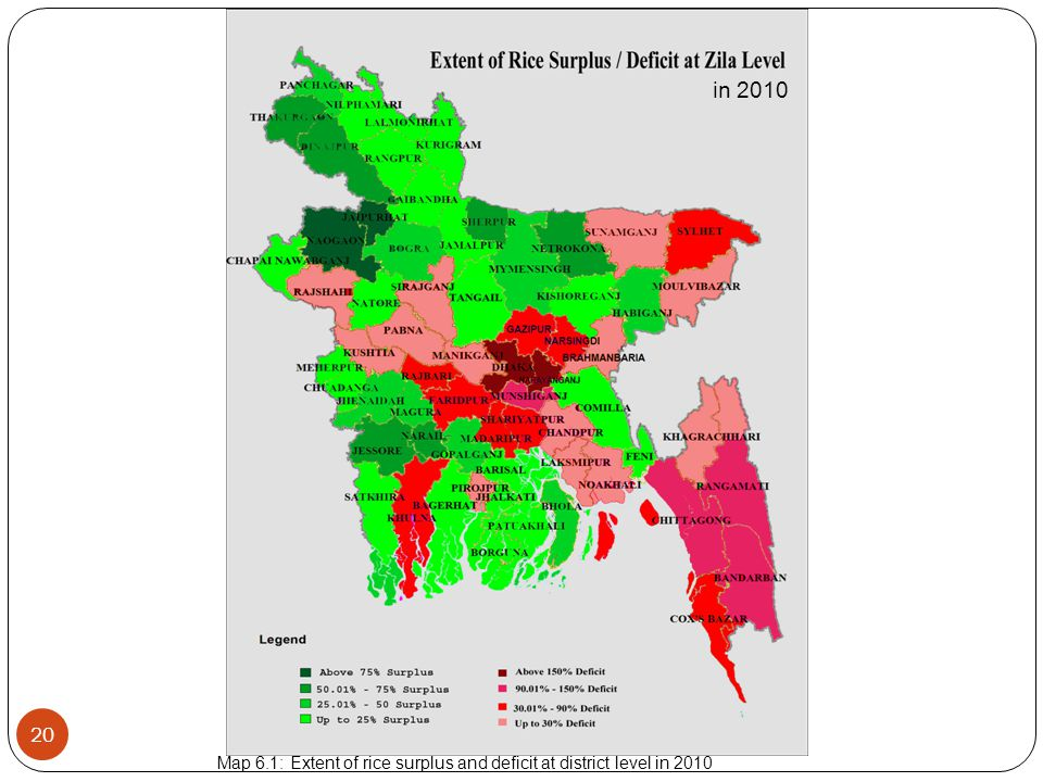 20 Map 6.1: Extent of rice surplus and deficit at district level in 2010 in 2010