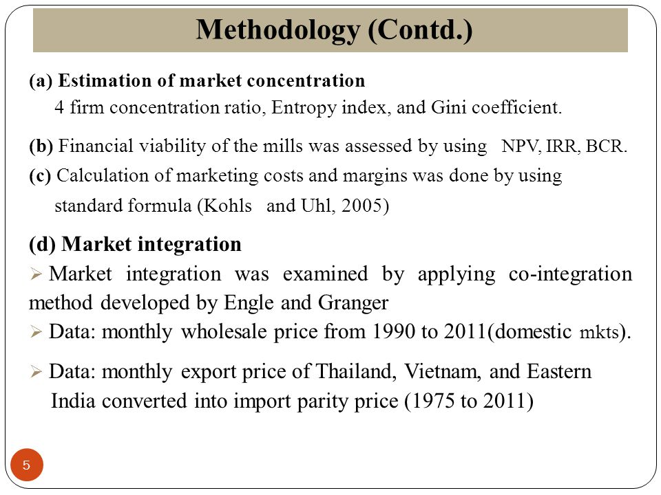 Methodology (Contd.) 5 (a) Estimation of market concentration 4 firm concentration ratio, Entropy index, and Gini coefficient. (b) Financial viability